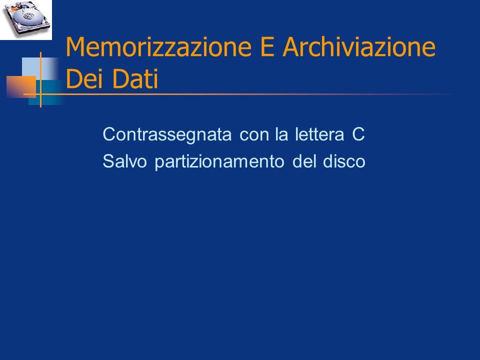 Memorizzazione E Archiviazione Dei Dati Contrassegnata con la lettera C Salvo partizionamento del disco