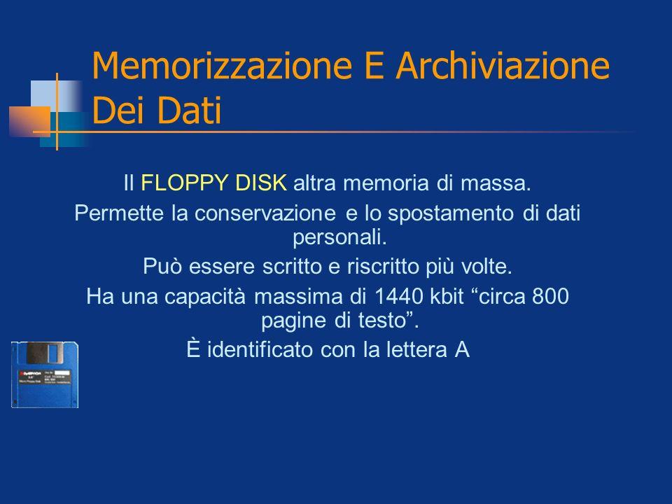 Memorizzazione E Archiviazione Dei Dati Il FLOPPY DISK altra memoria di massa. Permette la conservazione e lo spostamento di dati personali. Può esser