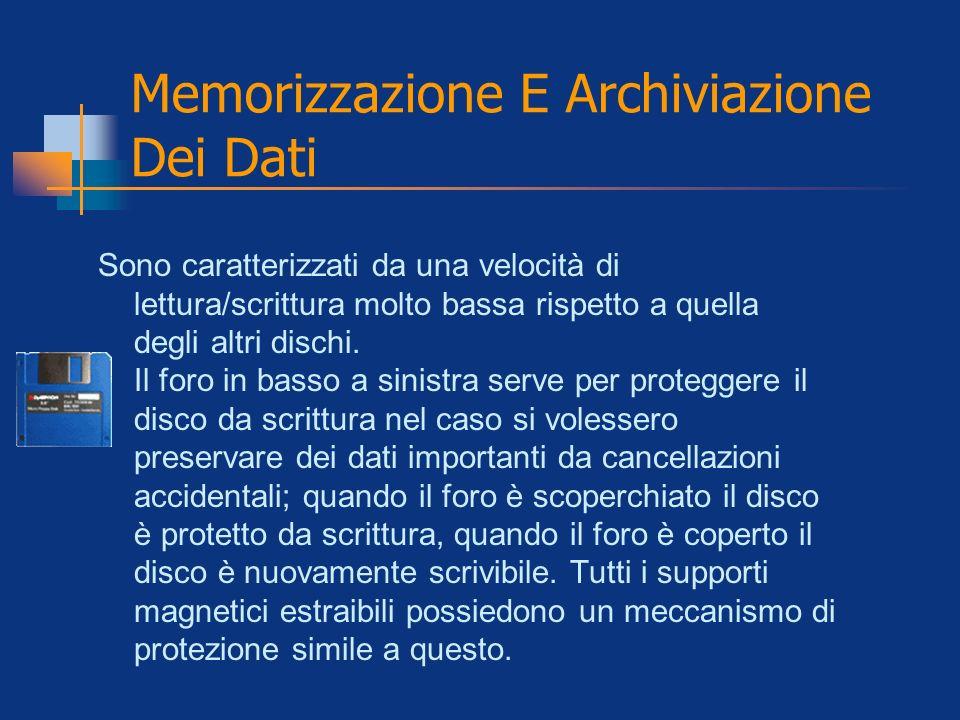Memorizzazione E Archiviazione Dei Dati Sono caratterizzati da una velocità di lettura/scrittura molto bassa rispetto a quella degli altri dischi. Il