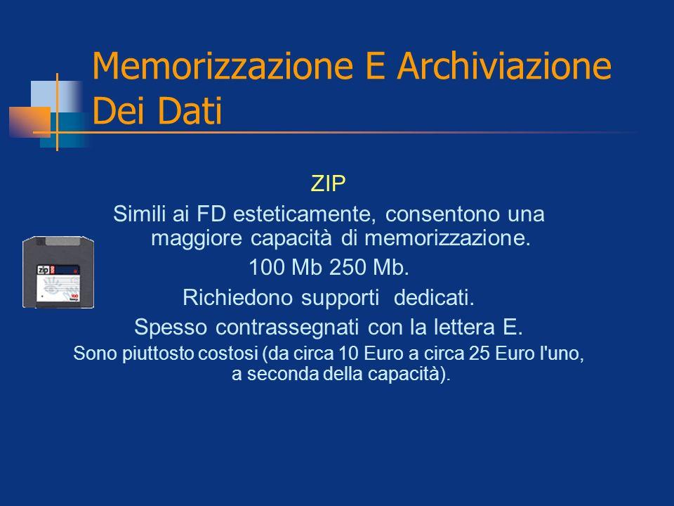 Memorizzazione E Archiviazione Dei Dati ZIP Simili ai FD esteticamente, consentono una maggiore capacità di memorizzazione. 100 Mb 250 Mb. Richiedono