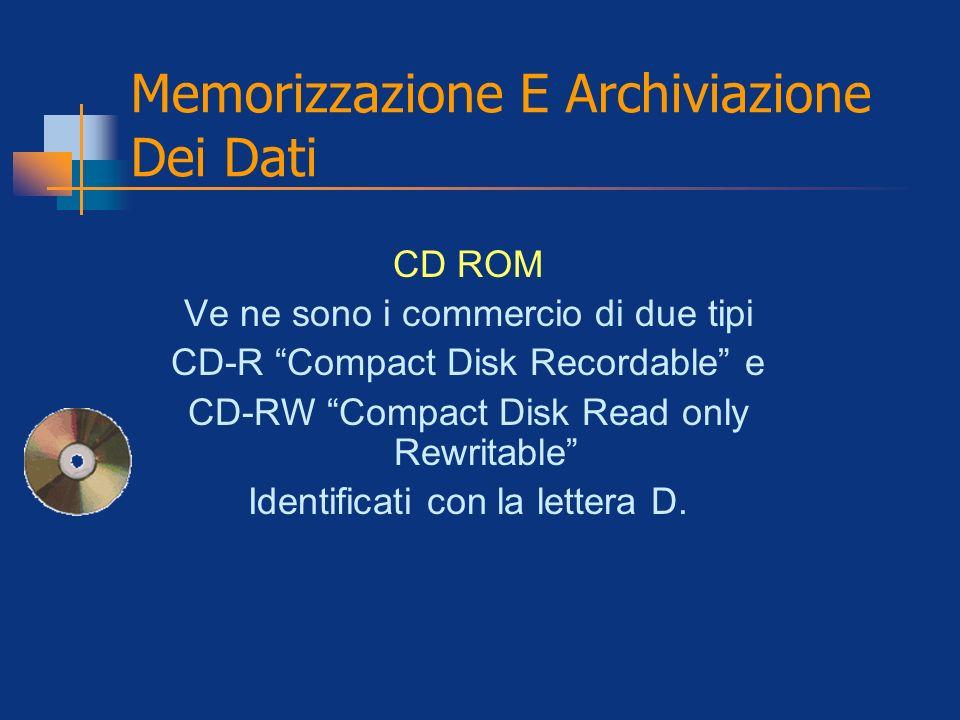 Memorizzazione E Archiviazione Dei Dati CD ROM Ve ne sono i commercio di due tipi CD-R Compact Disk Recordable e CD-RW Compact Disk Read only Rewritab