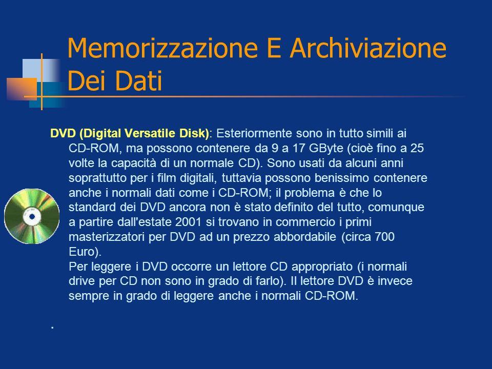 Memorizzazione E Archiviazione Dei Dati DVD (Digital Versatile Disk): Esteriormente sono in tutto simili ai CD-ROM, ma possono contenere da 9 a 17 GBy