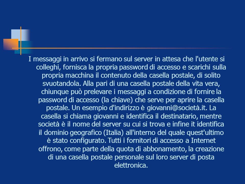 I messaggi in arrivo si fermano sul server in attesa che l'utente si colleghi, fornisca la propria password di accesso e scarichi sulla propria macchi
