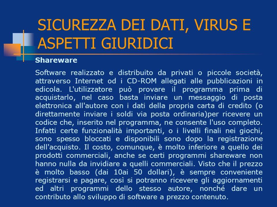 Shareware Software realizzato e distribuito da privati o piccole società, attraverso Internet od i CD-ROM allegati alle pubblicazioni in edicola. L'ut