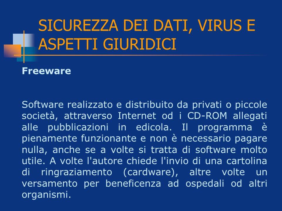 SICUREZZA DEI DATI, VIRUS E ASPETTI GIURIDICI Freeware Software realizzato e distribuito da privati o piccole società, attraverso Internet od i CD-ROM