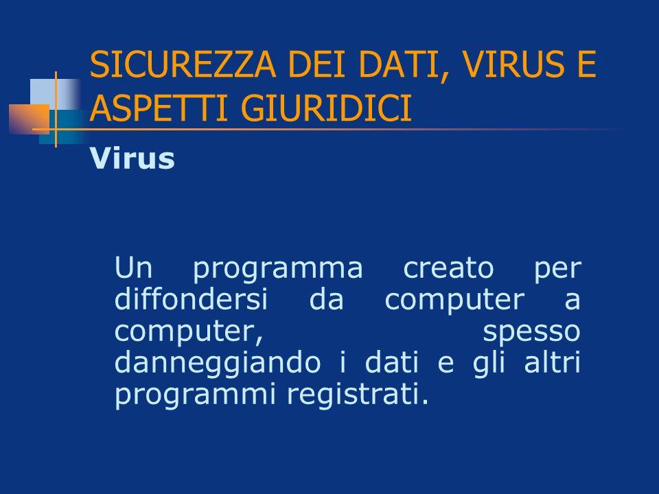 SICUREZZA DEI DATI, VIRUS E ASPETTI GIURIDICI Virus Un programma creato per diffondersi da computer a computer, spesso danneggiando i dati e gli altri