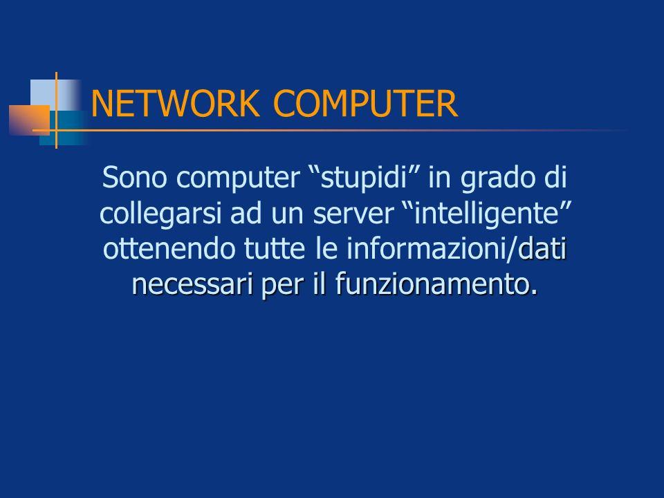 NETWORK COMPUTER dati necessari per il funzionamento. Sono computer stupidi in grado di collegarsi ad un server intelligente ottenendo tutte le inform