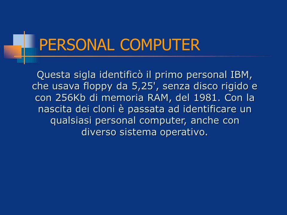 PERSONAL COMPUTER Questa sigla identificò il primo personal IBM, che usava floppy da 5,25', senza disco rigido e con 256Kb di memoria RAM, del 1981. C