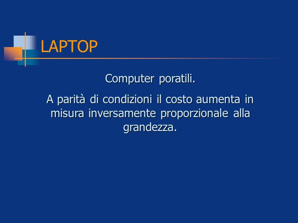 LAPTOP Computer poratili. A parità di condizioni il costo aumenta in misura inversamente proporzionale alla grandezza.