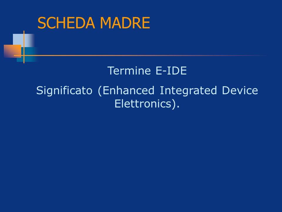 SCHEDA MADRE Termine E-IDE Significato (Enhanced Integrated Device Elettronics).