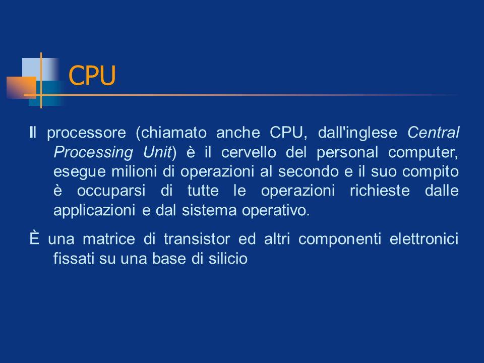 CPU Il processore (chiamato anche CPU, dall'inglese Central Processing Unit) è il cervello del personal computer, esegue milioni di operazioni al seco