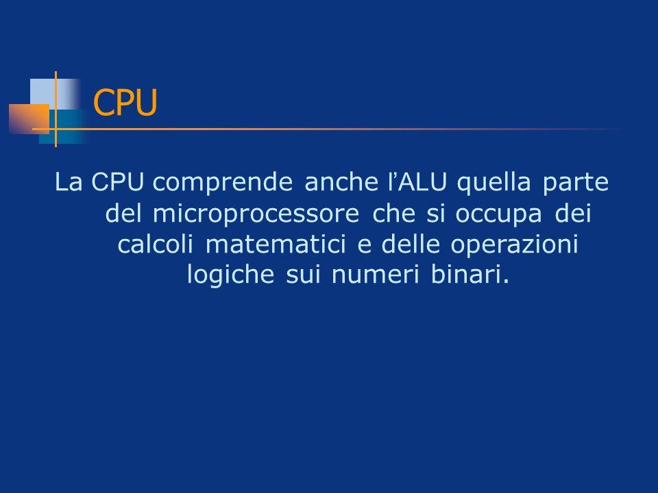 CPU La CPU comprende anche lALU quella parte del microprocessore che si occupa dei calcoli matematici e delle operazioni logiche sui numeri binari.