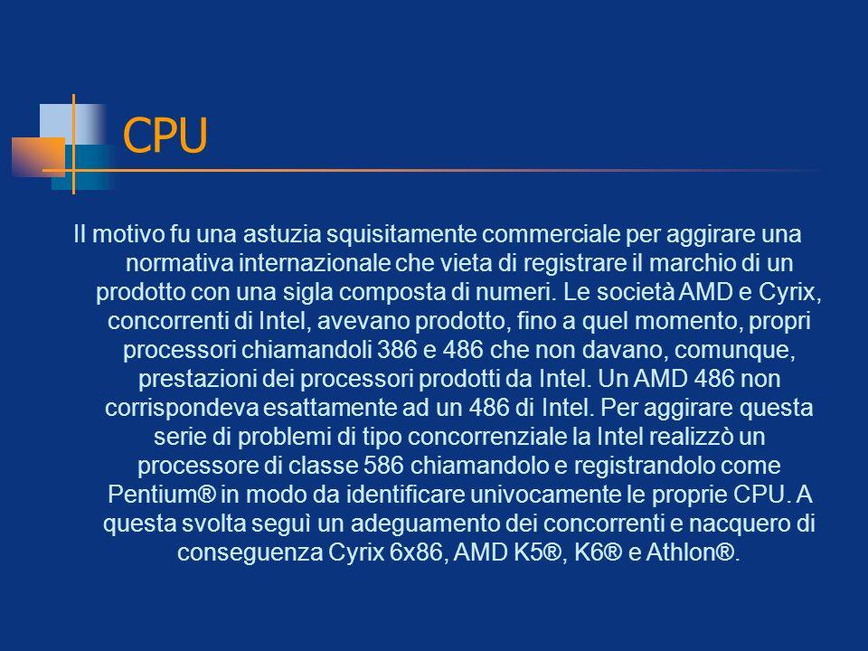 CPU Il motivo fu una astuzia squisitamente commerciale per aggirare una normativa internazionale che vieta di registrare il marchio di un prodotto con