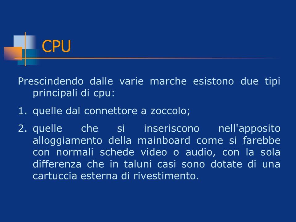 CPU Prescindendo dalle varie marche esistono due tipi principali di cpu: 1.quelle dal connettore a zoccolo; 2.quelle che si inseriscono nell'apposito