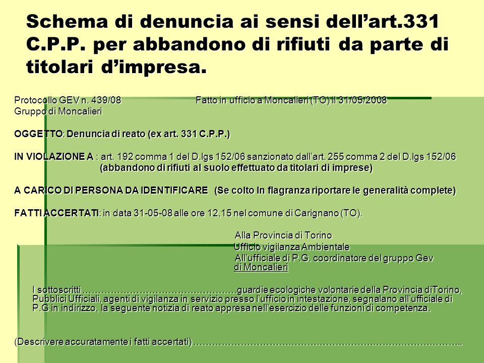 Schema di denuncia ai sensi dellart.331 C.P.P. per abbandono di rifiuti da parte di titolari dimpresa. Protocollo GEV n. 439/08 Fatto in ufficio a Mon