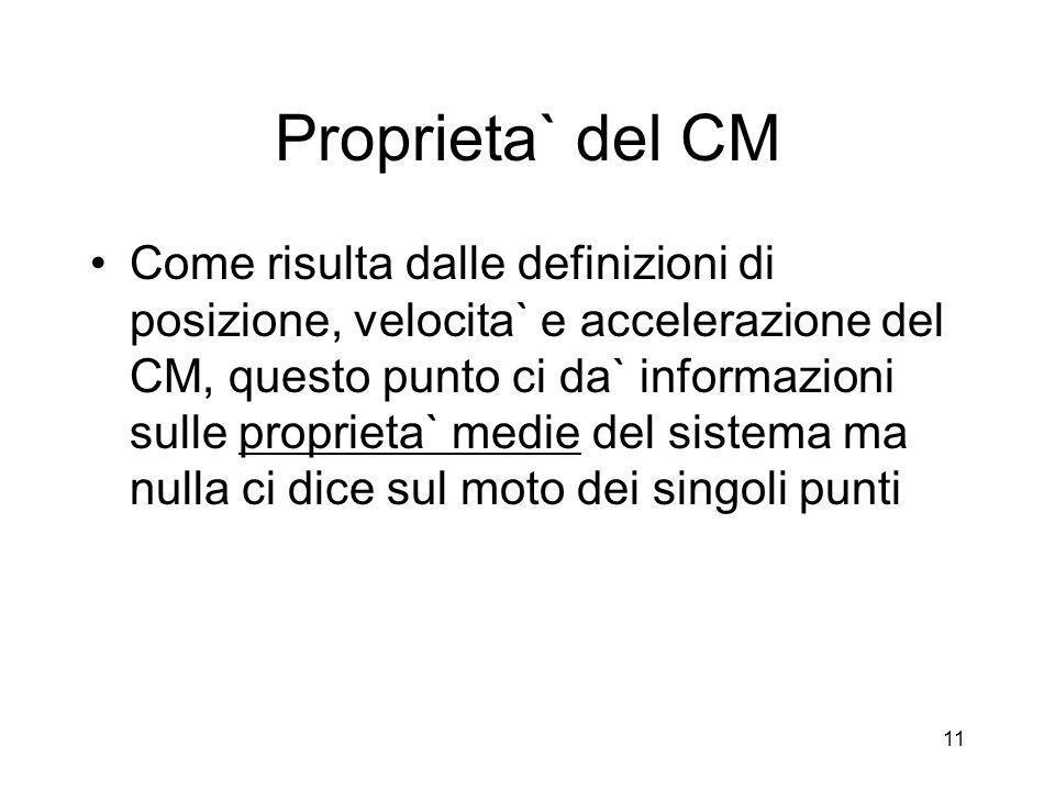 Proprieta` del CM Come risulta dalle definizioni di posizione, velocita` e accelerazione del CM, questo punto ci da` informazioni sulle proprieta` med