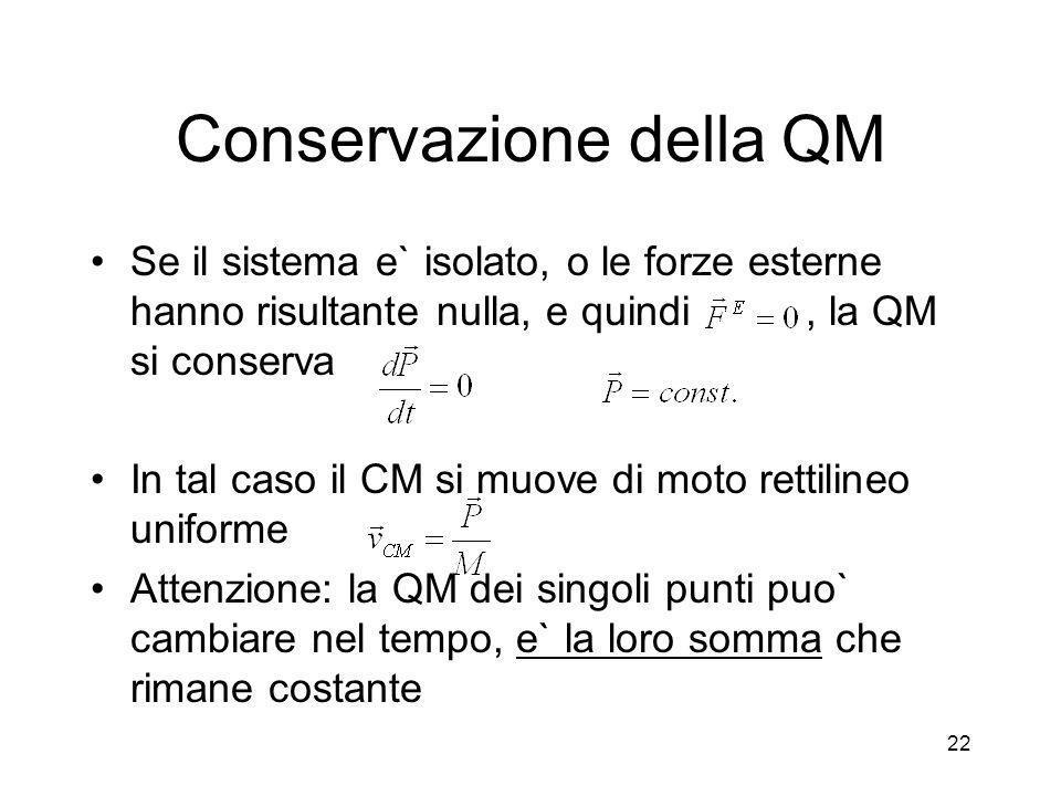 Conservazione della QM Se il sistema e` isolato, o le forze esterne hanno risultante nulla, e quindi, la QM si conserva In tal caso il CM si muove di