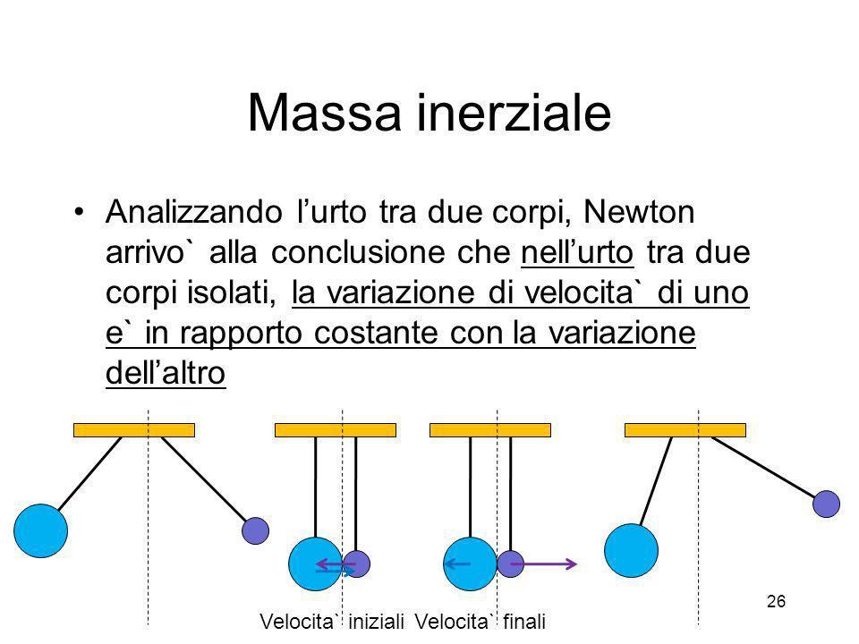 Massa inerziale Analizzando lurto tra due corpi, Newton arrivo` alla conclusione che nellurto tra due corpi isolati, la variazione di velocita` di uno