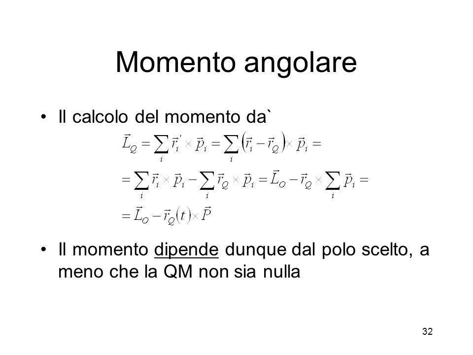 Momento angolare Il calcolo del momento da` Il momento dipende dunque dal polo scelto, a meno che la QM non sia nulla 32