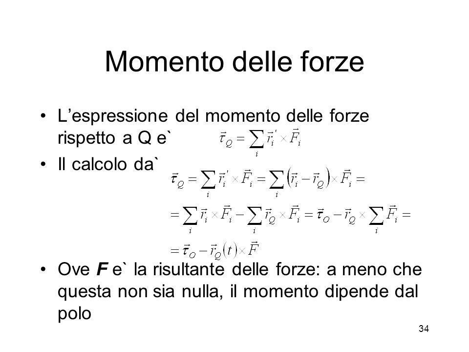 Momento delle forze Lespressione del momento delle forze rispetto a Q e` Il calcolo da` Ove F e` la risultante delle forze: a meno che questa non sia
