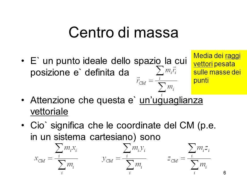 Centro di massa E` un punto ideale dello spazio la cui posizione e` definita da Attenzione che questa e` unuguaglianza vettoriale Cio` significa che l