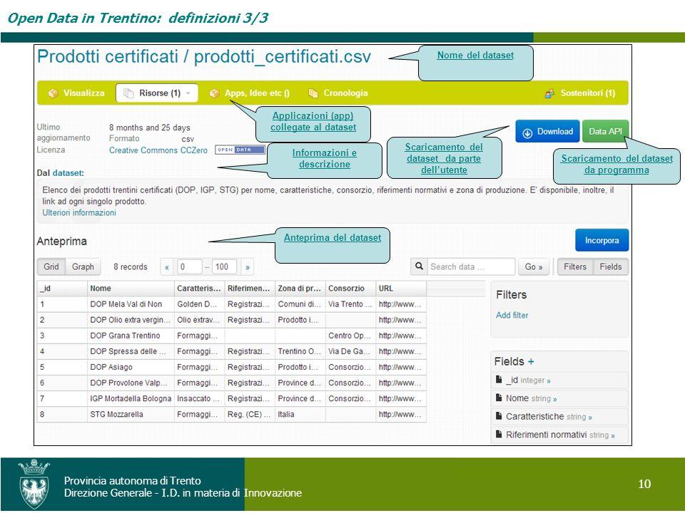 Open Data in Trentino: definizioni 3/3 10 Provincia autonoma di Trento Direzione Generale - I.D. in materia di Innovazione Anteprima del dataset Scari