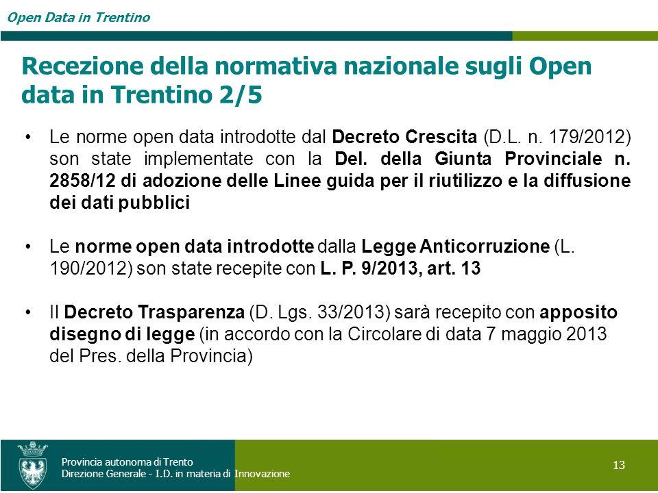 Open Data in Trentino 13 Provincia autonoma di Trento Direzione Generale - I.D. in materia di Innovazione Recezione della normativa nazionale sugli Op