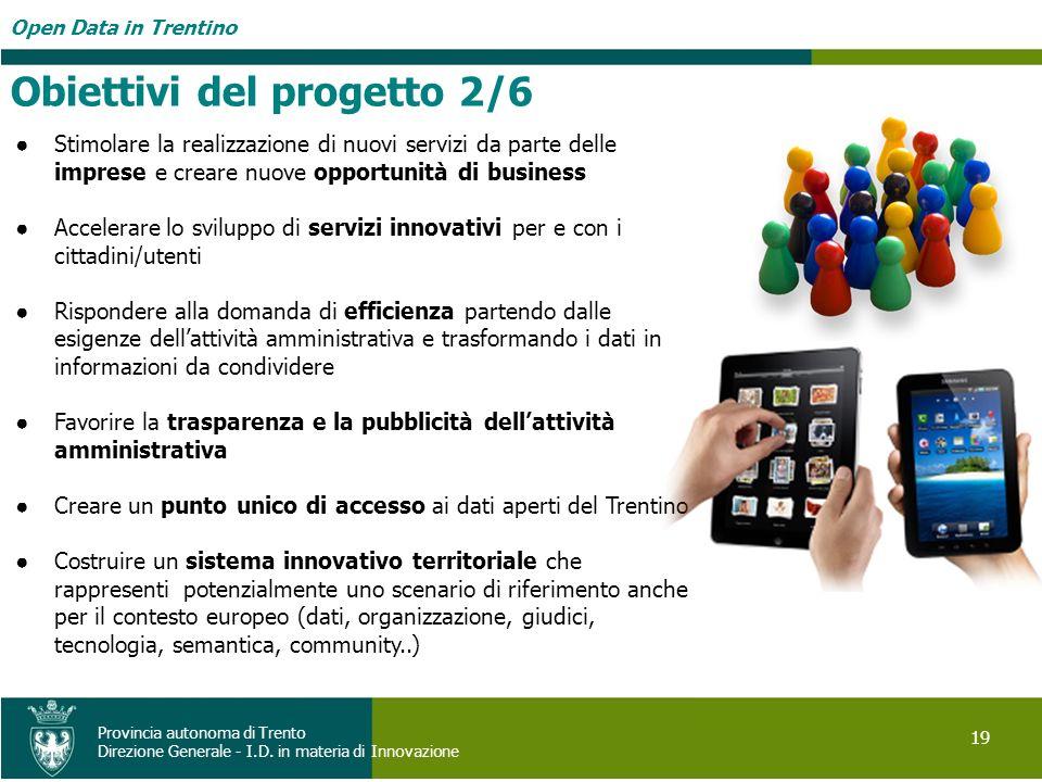 Open Data in Trentino 19 Provincia autonoma di Trento Direzione Generale - I.D. in materia di Innovazione Stimolare la realizzazione di nuovi servizi