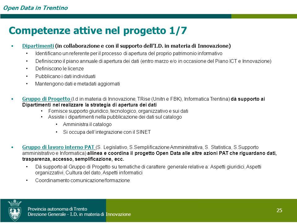 Open Data in Trentino 25 Provincia autonoma di Trento Direzione Generale - I.D. in materia di Innovazione Dipartimenti (in collaborazione e con il sup