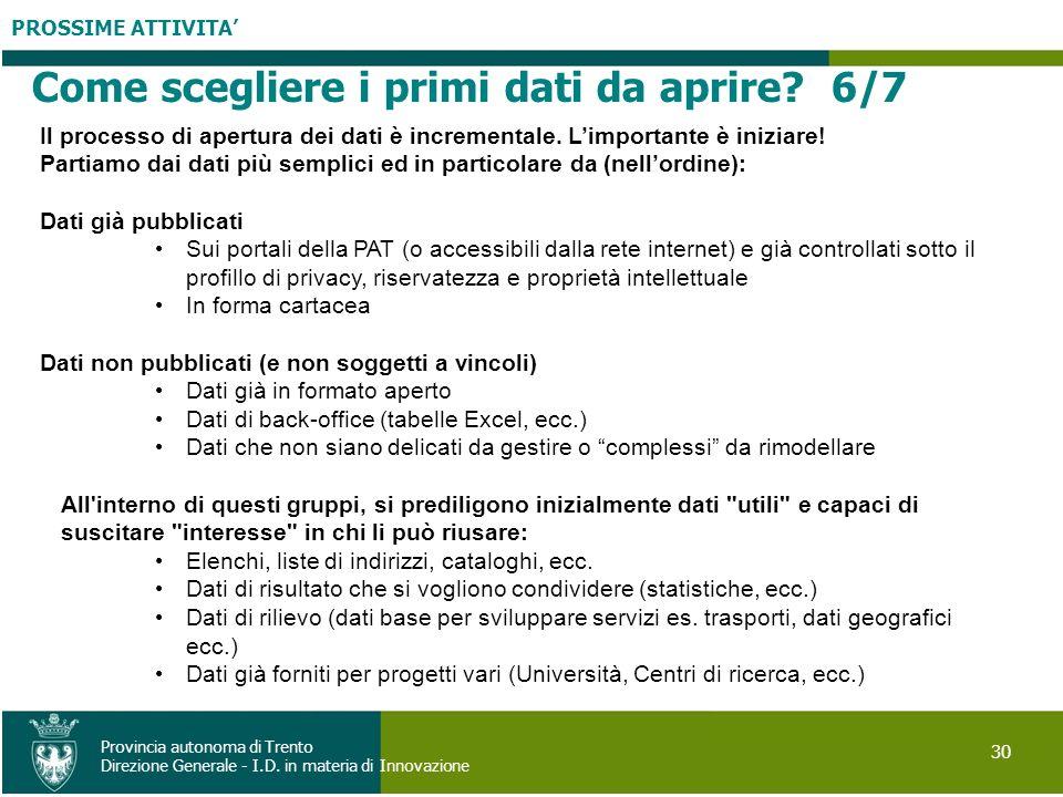PROSSIME ATTIVITA 30 Provincia autonoma di Trento Direzione Generale - I.D. in materia di Innovazione Il processo di apertura dei dati è incrementale.