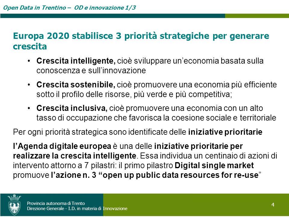 Open Data in Trentino – OD e innovazione 1/3 4 Provincia autonoma di Trento Direzione Generale - I.D. in materia di Innovazione Europa 2020 stabilisce
