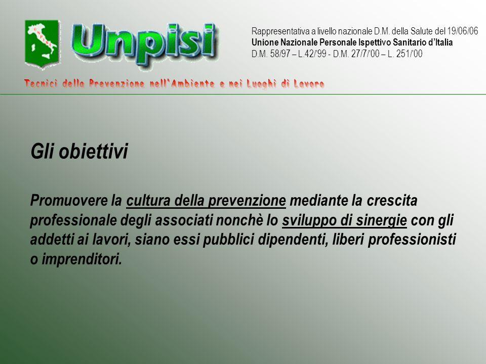 Rappresentativa a livello nazionale D.M. della Salute del 19/06/06 Unione Nazionale Personale Ispettivo Sanitario dItalia D.M. 58/97 – L.42/99 - D.M.