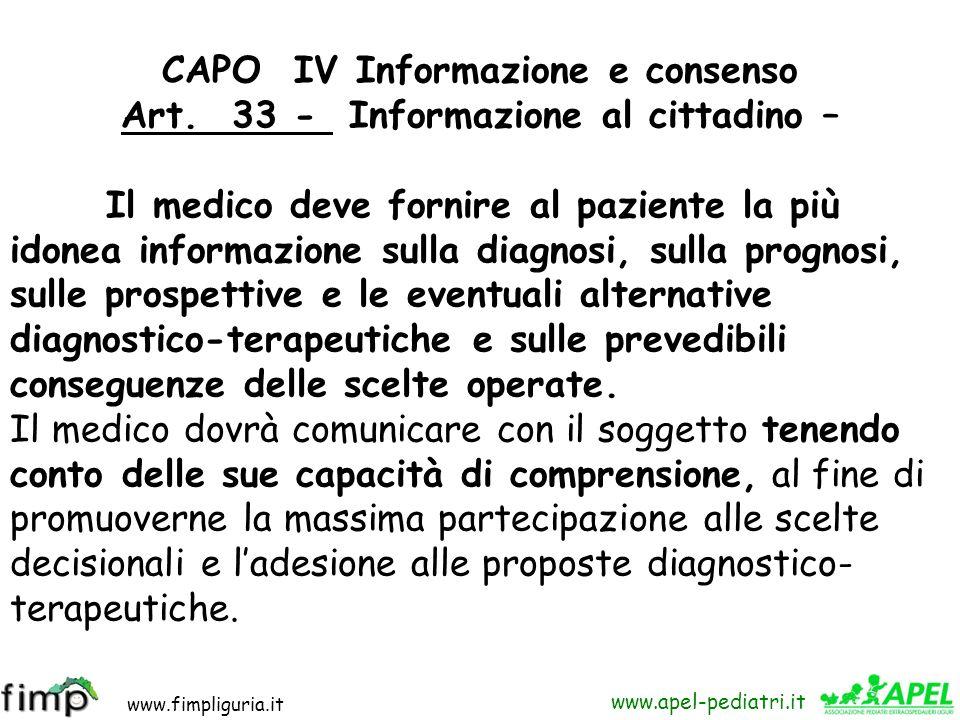 www.fimpliguria.it www.apel-pediatri.it Capo IV Informazione e consenso 1 - linformazione (artt 33-35) Questo capo (art 33-35 ) attiene al problema de