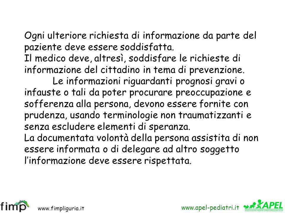 www.fimpliguria.it www.apel-pediatri.it CAPO IV Informazione e consenso Art. 33 - Informazione al cittadino – Il medico deve fornire al paziente la pi