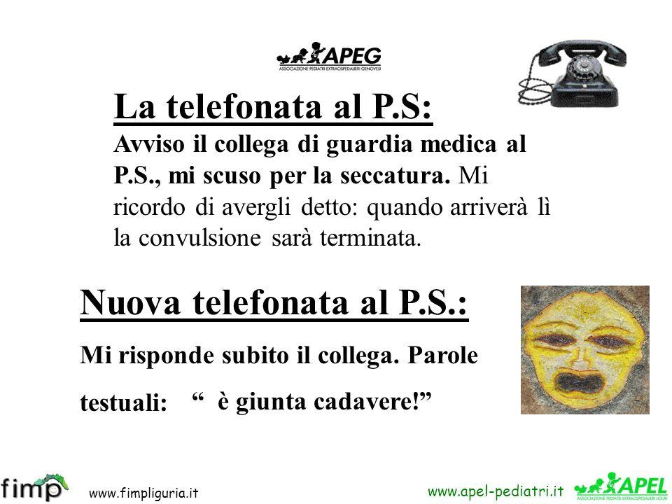 www.fimpliguria.it www.apel-pediatri.it Riflessione: - La b. abita sulle alture di Genova partendo subito potrei arrivare in 10-15 minuti. Nel frattem