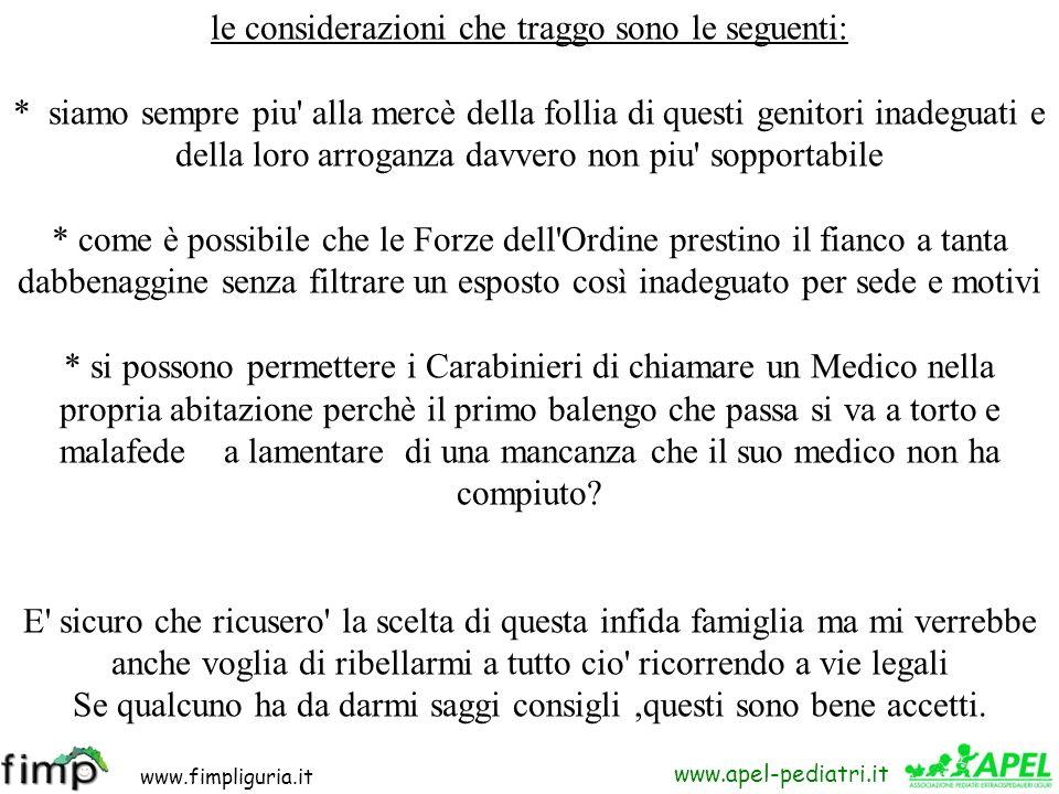 www.fimpliguria.it www.apel-pediatri.it carissimi colleghi, ritengo doveroso segnalarvi ciò che mi è accaduto oggi: SONO STATO CERCATO A CASA DAI CARA