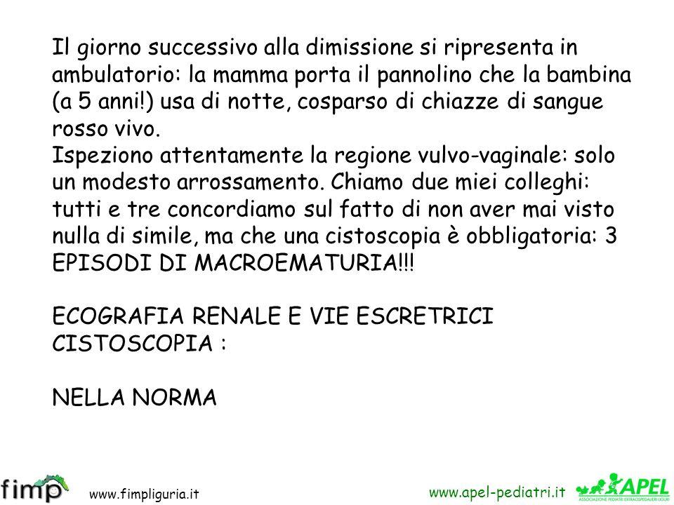 www.fimpliguria.it www.apel-pediatri.it Esame obiettivo negativo. Esame urine: ematuria post-glomerulare : ricovero. Durante la degenza: indici di flo