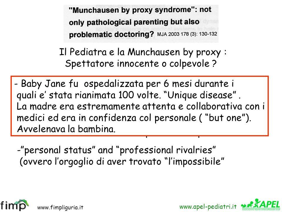www.fimpliguria.it www.apel-pediatri.it Tre mesi di…dolori in Clinica Pediatrica * *Epidemia di Malingering al Burlo. Cerchio R, Brondello C., Lenhard