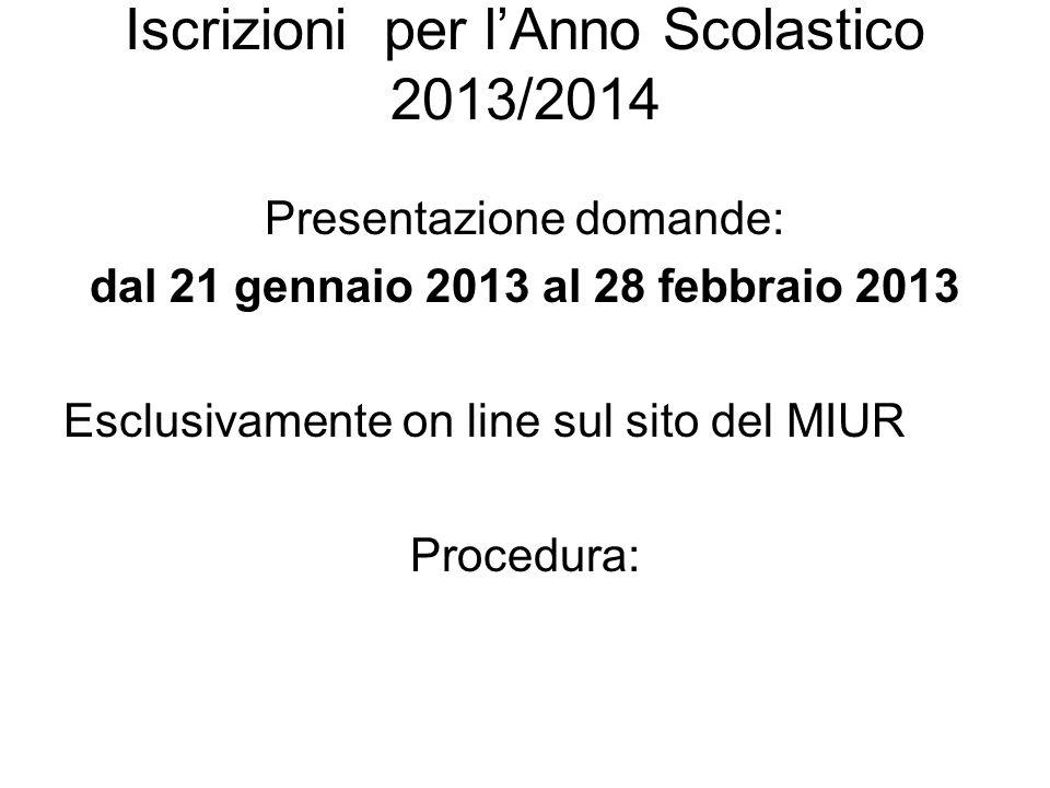 Iscrizioni per lAnno Scolastico 2013/2014 Presentazione domande: dal 21 gennaio 2013 al 28 febbraio 2013 Esclusivamente on line sul sito del MIUR Proc
