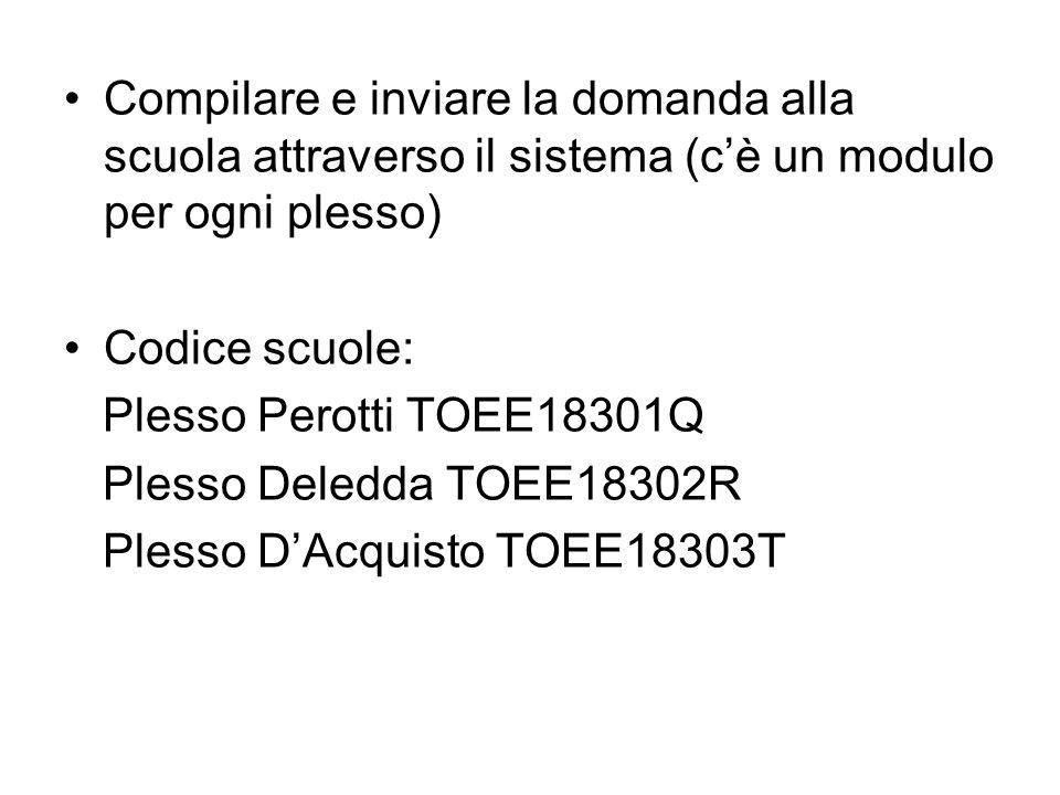 Compilare e inviare la domanda alla scuola attraverso il sistema (cè un modulo per ogni plesso) Codice scuole: Plesso Perotti TOEE18301Q Plesso Deledd