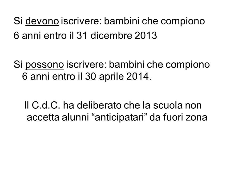 Si devono iscrivere: bambini che compiono 6 anni entro il 31 dicembre 2013 Si possono iscrivere: bambini che compiono 6 anni entro il 30 aprile 2014.