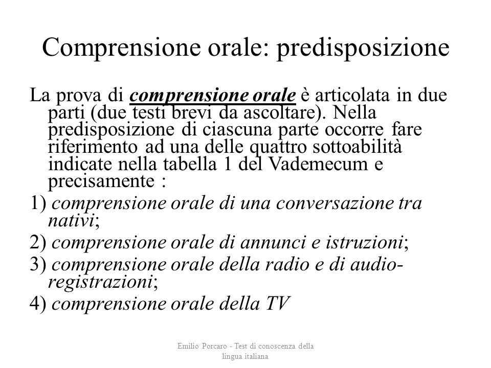 Comprensione orale: predisposizione La prova di comprensione orale è articolata in due parti (due testi brevi da ascoltare). Nella predisposizione di
