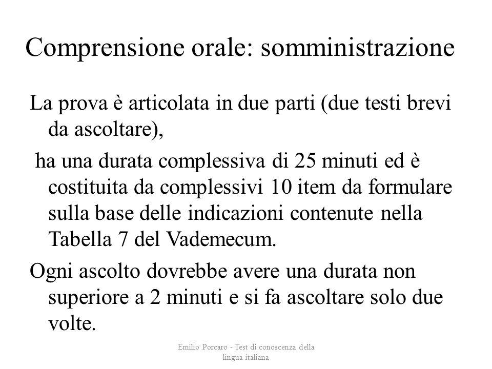Comprensione orale: somministrazione La prova è articolata in due parti (due testi brevi da ascoltare), ha una durata complessiva di 25 minuti ed è co