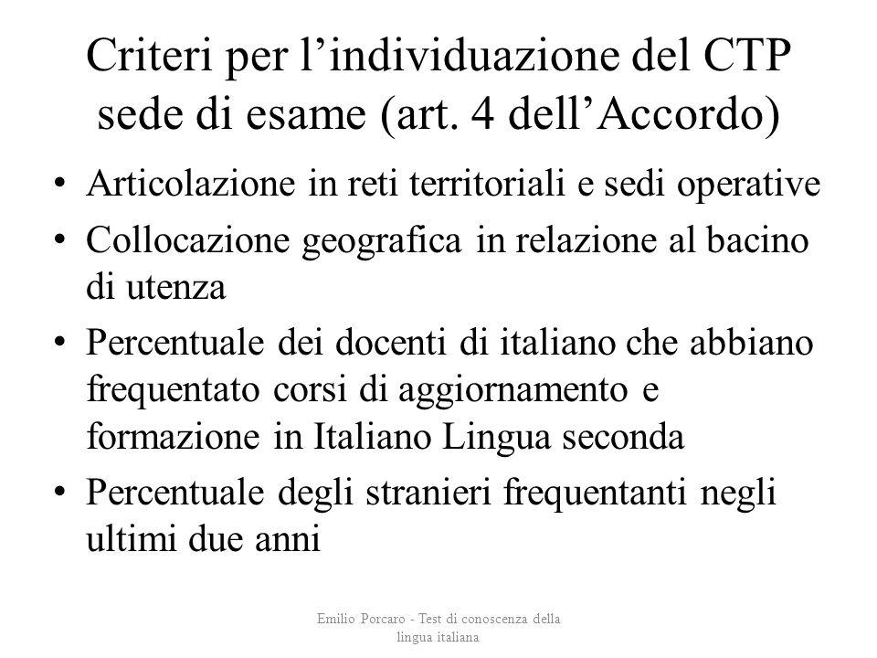 Criteri per lindividuazione del CTP sede di esame (art. 4 dellAccordo) Articolazione in reti territoriali e sedi operative Collocazione geografica in