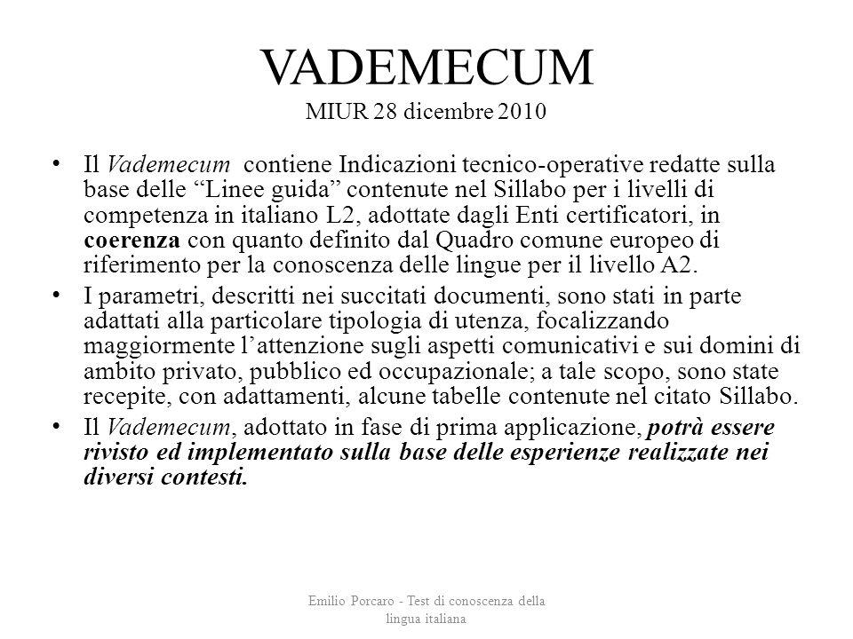 VADEMECUM MIUR 28 dicembre 2010 Il Vademecum contiene Indicazioni tecnico-operative redatte sulla base delle Linee guida contenute nel Sillabo per i l