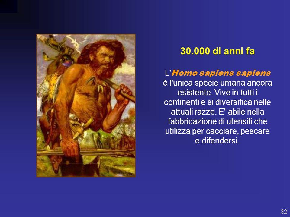 31 200.000 di anni fa Compariva l Homo sapiens, cioè l uomo dotato di raziocinio.