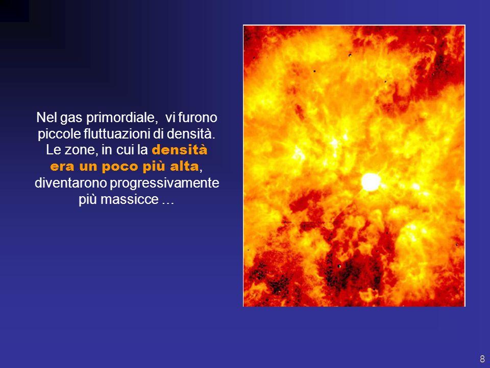 7 Alcune centinaia di migliaia di anni dopo l istante iniziale, la temperatura diventò sufficientemente bassa, attorno al migliaio di gradi, e permise agli elettroni e ai protoni di legarsi stabilmente, formando atomi di idrogeno.