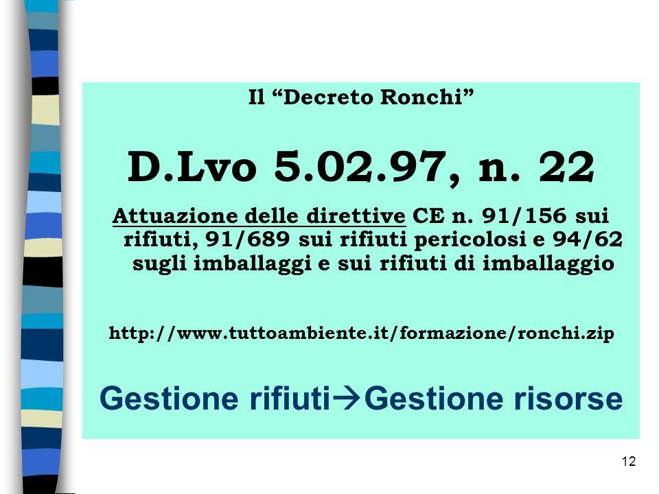 12 Il Decreto Ronchi D.Lvo 5.02.97, n. 22 Attuazione delle direttive CE n. 91/156 sui rifiuti, 91/689 sui rifiuti pericolosi e 94/62 sugli imballaggi