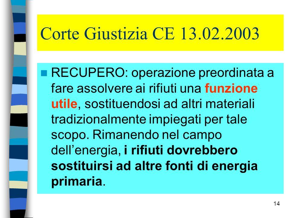 14 Corte Giustizia CE 13.02.2003 RECUPERO: operazione preordinata a fare assolvere ai rifiuti una funzione utile, sostituendosi ad altri materiali tra