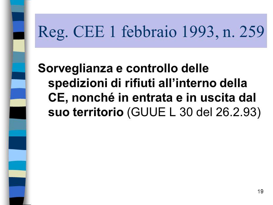 19 Reg. CEE 1 febbraio 1993, n. 259 Sorveglianza e controllo delle spedizioni di rifiuti allinterno della CE, nonché in entrata e in uscita dal suo te